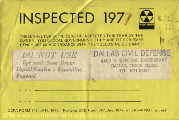 Shelter Supply Inspection Sticker